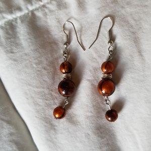 Silver orange earrings
